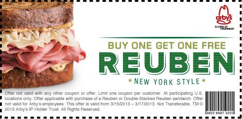 Arbys Coupons-arbys-bogo-free-rueben-printable-coupon