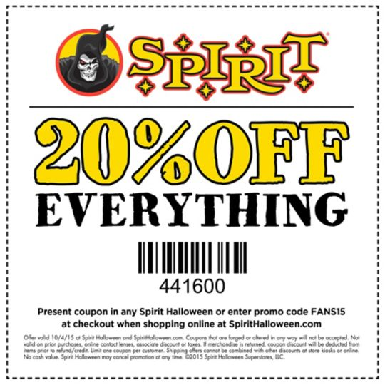 photo relating to Spirit Halloween Coupon Printable identify Spirit Halloween Coupon Get Your Printable Discount coupons